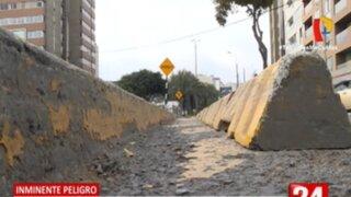 Ciclistas viven constante peligro en ciclovía ubicada en límite de Miraflores y Barranco