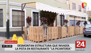 Surquillo: retiran estructura de restaurante que invadía la vía pública