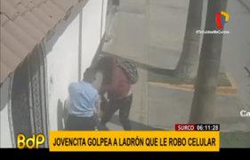 Surco: joven descarga su furia contra ladrón que le robo celular