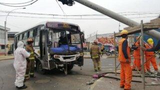 La Victoria: 12 heridos en violento choque entre camioneta y un bus de transporte público