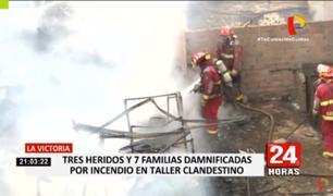 La Victoria: voraz incendio deja 3 heridos y 7 familias damnificadas