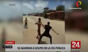 Tumbes: peruano y venezolano se agarran a golpes por invadir un terreno