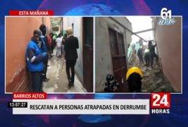 Tras derrumbe en Barrios altos, vecinos atrapados fueron rescatados