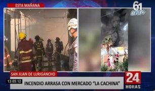 Incendio en Mercado La Cachina: bomberos informan que fuego ha sido confinado