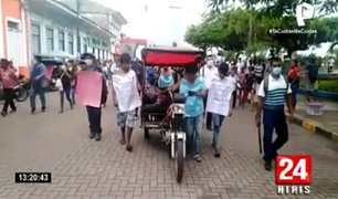 Yurimaguas: ronderos pasean a cinco sujetos que asesinaron a una anciana