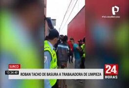Surco: delincuentes fueron atrapados, tras robar tacho de basura