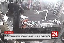 Los Olivos: trabajador de vidriería agredió a su empleador