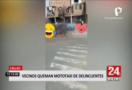 Callao: vecinos queman mototaxi de delincuentes