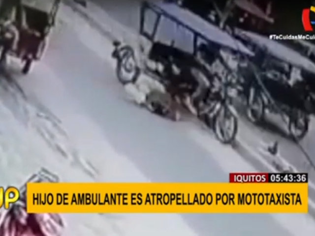 Iquitos: cámara de seguridad captó a un niño siendo embestido por mototaxi