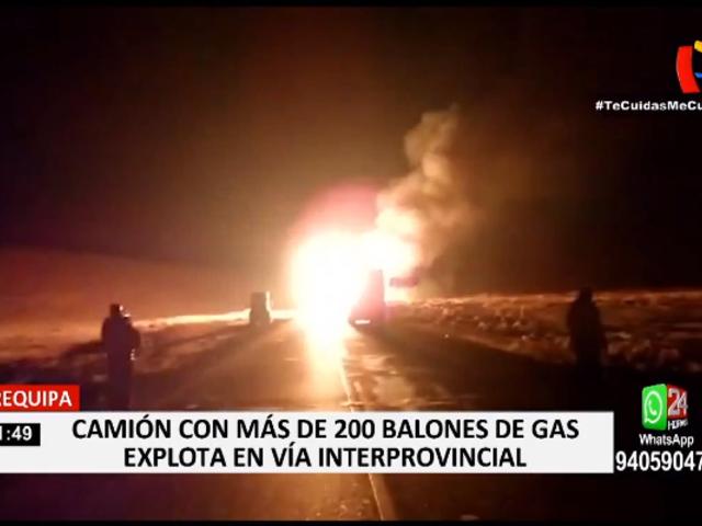 Arequipa: camión con más de 200 balones de gas explotó en vía interprovincial