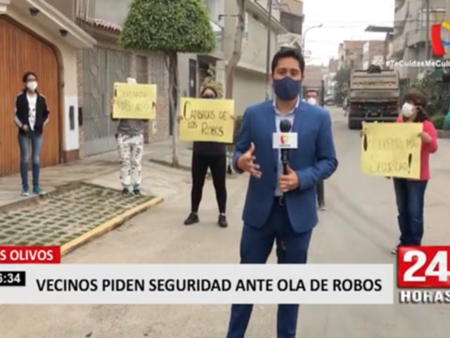 Los Olivos: vecinos protestan para exigir seguridad ante ola de robos