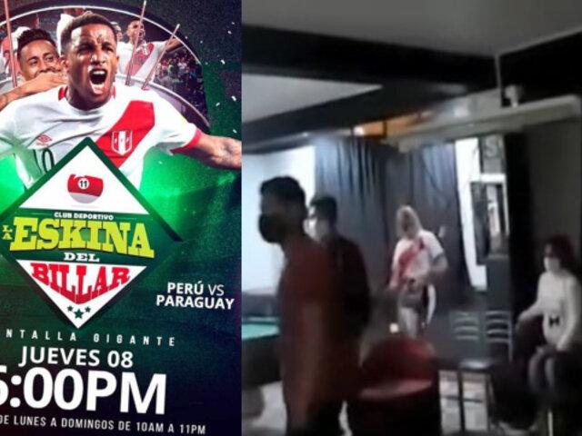 SMP: Intervienen a más de 20 personas que se reunieron en billar para ver partido Perú vs Paraguay