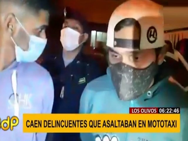 Caen extranjeros que arrebataban celulares en Los Olivos a bordo de una mototaxi