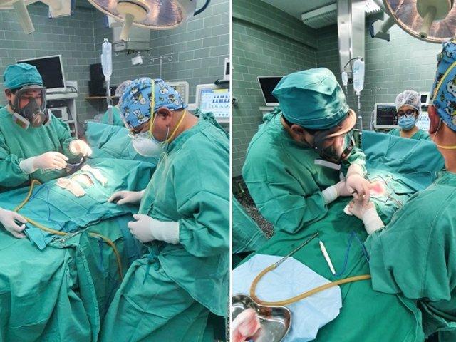 Salvan la vida a bebé de 3 meses de nacido tras extirparle tumor abdominal de un kilo