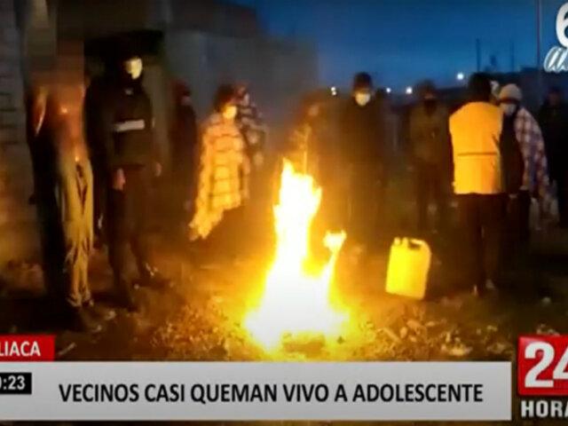 Enardecidos pobladores intentan quemar vivo a un joven de 16 años acusado de robo
