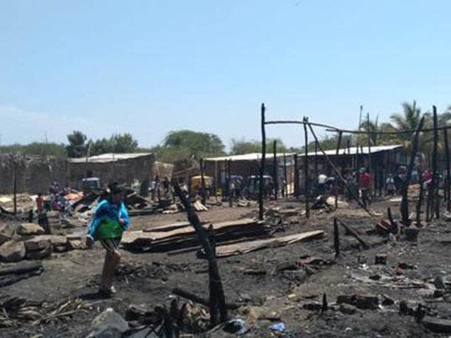 Dantesco incendio arrasó con varias viviendas de un asentamiento humano de Piura