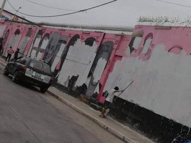 """Desaparecen las """"Caras de Atahualpa"""",  pintan de blanco icónico mural chalaco"""