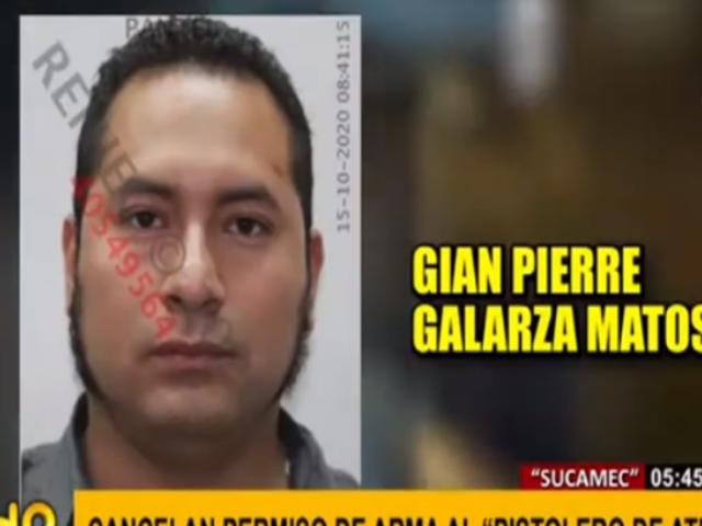 Sucamec canceló licencia de portar armas para el 'Pistolero de Ate'