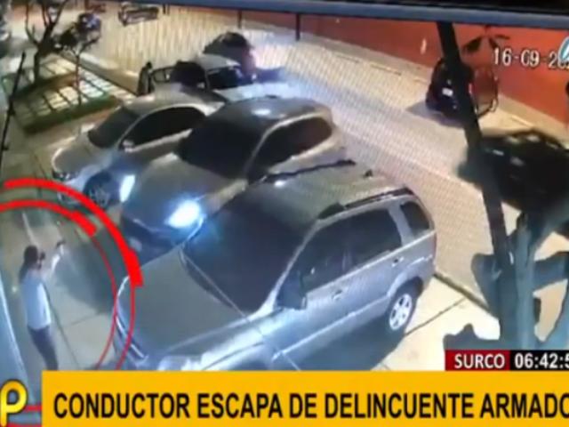 Surco: conductor realizó arriesgada maniobra para huir de ladrón armado