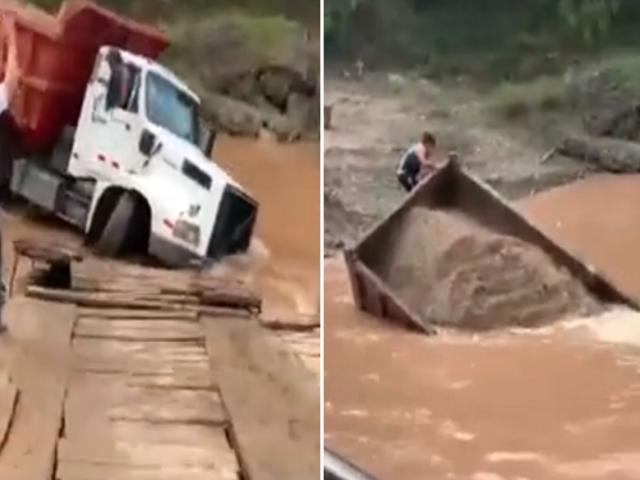 Tarapoto: volquete se hunde en río Huallaga cuando intentaba subir a balsa cautiva