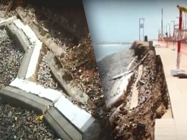 """Muro de contención de playa """"Los Delfines"""" se desmorona"""