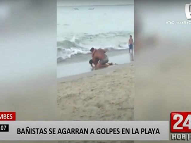 Captan a dos sujetos agarrándose a golpes en el balneario de Zorritos