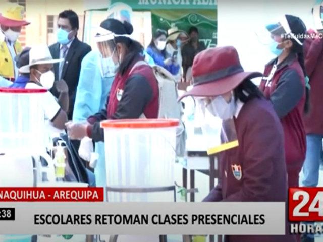 Arequipa: niños retornan a clases presenciales siguiendo medidas sanitarias