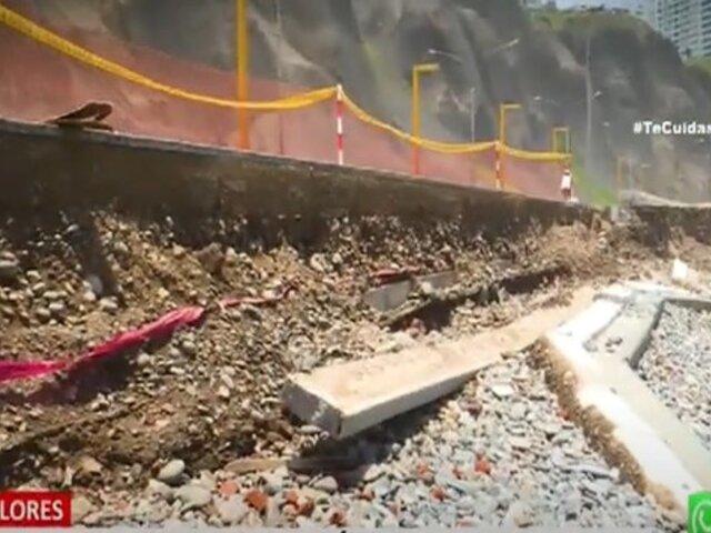 """Miraflores: Así luce el muro de contención que se desmorona en playa """"Los Delfines"""""""