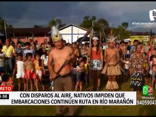 Loreto: con disparos al aire, manifestantes impiden que embarcaciones continúen ruta en río Marañon