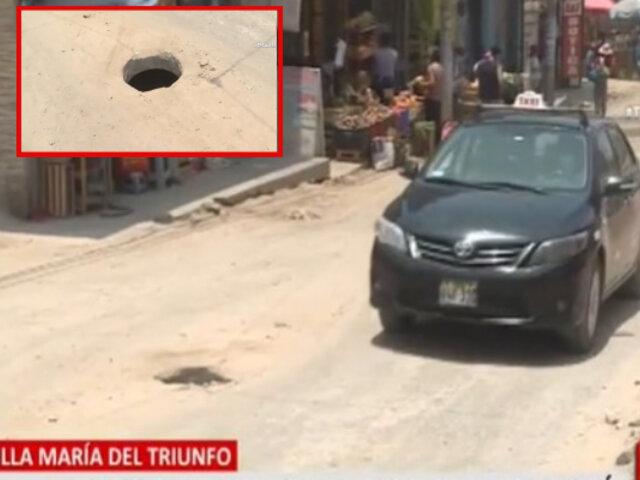 VMT: Obras inconclusas y 10 buzones sin tapas tras amenazas de mafias de construcción civil