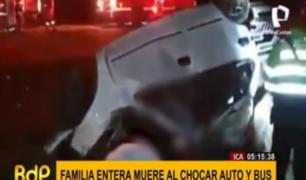 Ica: choque entre auto y bus interprovincial mató a familia