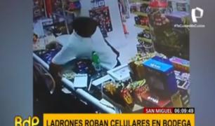 San Miguel: delincuentes roban celulares en una bodega