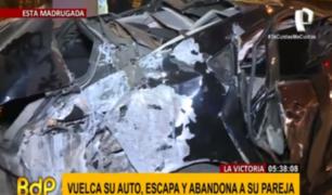 La Victoria: sujeto huye tras accidente y abandona a su acompañante