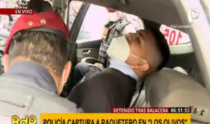 Los Olivos: cae miembro de banda de 'raqueteros' tras persecución y balacera