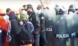 Se registró enfrentamiento entre obreros de construcción civil y policías