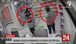 Chimbote: tres delincuentes se apoderan de celulares y dinero de una farmacia