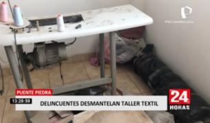 Puente Piedra: delincuentes desmantelan taller textil