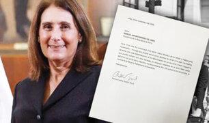 Esta es la carta de renuncia de Patricia Teullet al Ministerio de la Mujer