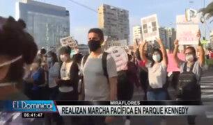 Miraflores: ciudadanos realizan marcha pacífica en Parque Kennedy