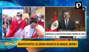 Miles de ciudadanos celebraron la renuncia de Manuel Merino