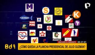 ¿Cómo queda la plancha presidencial de Julio Guzmán?