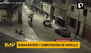 Independencia: delincuentes roban batería y computadora de un vehículo