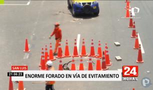 San Luis: caos generó hundimiento de pista en Vía de Evitamiento