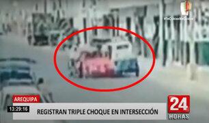 Arequipa: triple choque entre auto, moto y mototaxi dejó varios heridos