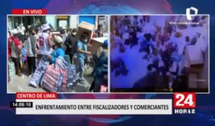 Cercado de Lima: enfrentamiento entre comerciantes y fiscalizadores