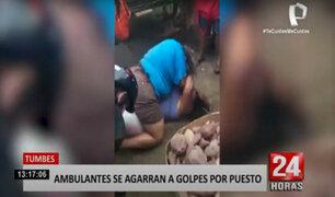 Tumbes: dos mujeres informales se pelearon en plena calle por un puesto