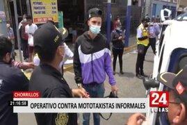 Chorrillos: operativo contra mototaxis informales dejó varios intervenidos por falta de documentos