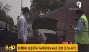 Serenos de Surco rescataron a hombre encerrado en maletera de su auto