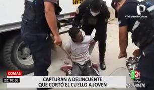 Comas: capturan a delincuente que cortó el cuello de un joven que se resistió al robo