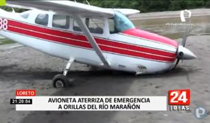 Avioneta aterriza de emergencia en orillas del río Marañón por fallas mecánicas